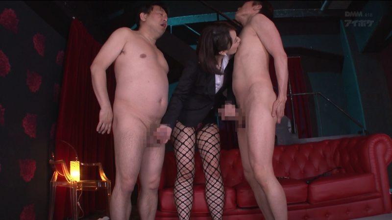 2人を全裸にし立たせW手コキ乳首舐めで責めたてる痴女夏川あかり