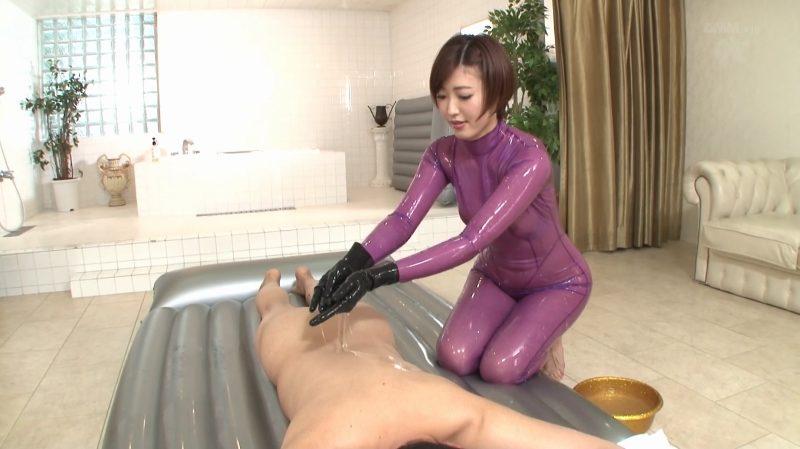 紫スケスケラバースーツ着衣マット素又手袋コキ
